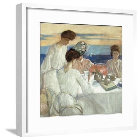 Afternoon Tea on the Terrace-Frederick Carl Frieseke-Framed Art Print