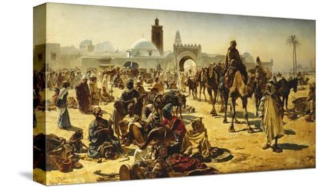 An Arab Slave Market-Ferencz-Franz Eisenhut-Stretched Canvas Print