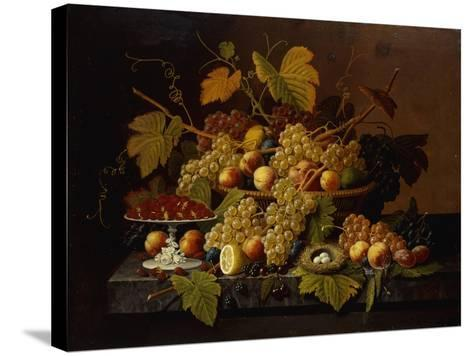 Still Life with Fruit-Severin Roesen-Stretched Canvas Print