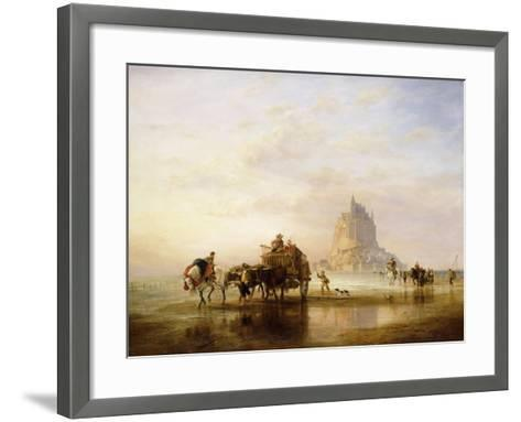 Mont St. Michel, Peasants returning to Pontorson on the approach of the Tide-Edward William Cooke-Framed Art Print