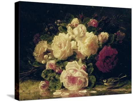 Roses with a Blue Tit by a Stream-Jean Baptiste Claude Robie-Stretched Canvas Print