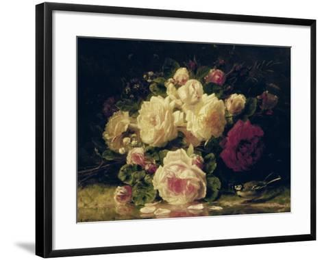 Roses with a Blue Tit by a Stream-Jean Baptiste Claude Robie-Framed Art Print