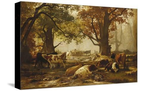 Cattle in a Wooded River Landscape-Auguste Francois Bonheur-Stretched Canvas Print