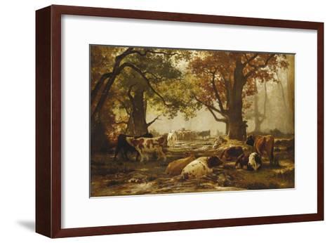 Cattle in a Wooded River Landscape-Auguste Francois Bonheur-Framed Art Print