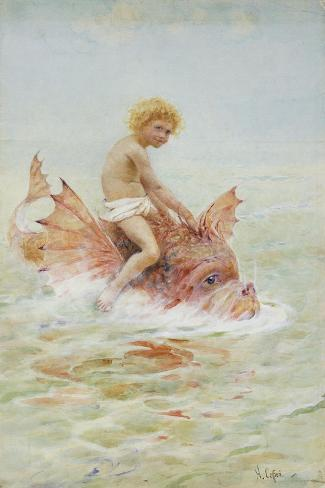 Riding Sea Monsters-Hector Caffieri-Stretched Canvas Print