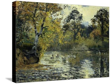 The Pond at Montfoucault-Camille Pissarro-Stretched Canvas Print