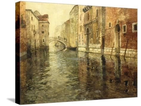 A Venetian Canal Scene-Frits Thaulow-Stretched Canvas Print