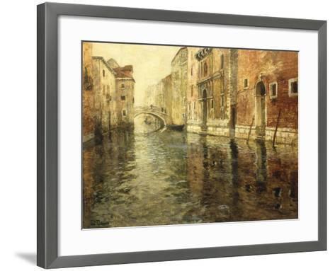 A Venetian Canal Scene-Frits Thaulow-Framed Art Print