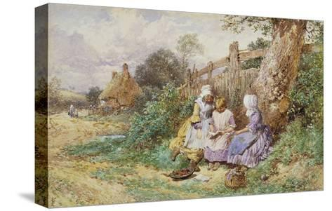Children Reading Beside a Country Lane-Myles Birket Foster-Stretched Canvas Print