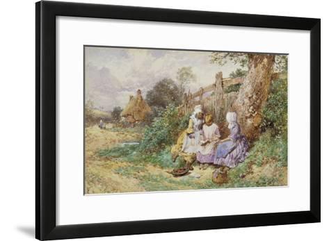 Children Reading Beside a Country Lane-Myles Birket Foster-Framed Art Print