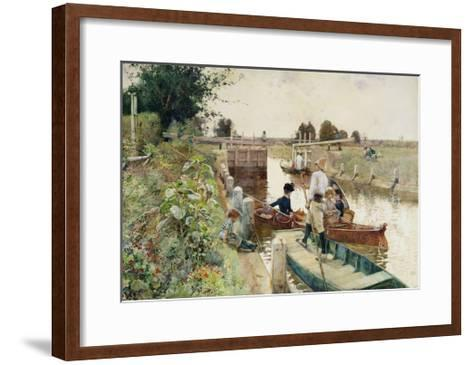 Boaters in a Lock on the Thames-Hector Caffieri-Framed Art Print