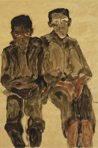 Two Seated Boys-Egon Schiele-Stretched Canvas Print