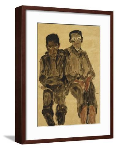 Two Seated Boys-Egon Schiele-Framed Art Print
