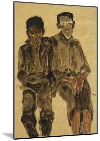 Two Seated Boys-Egon Schiele-Mounted Giclee Print
