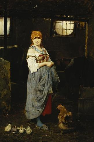The Farm Girl-F. Ducale-Stretched Canvas Print