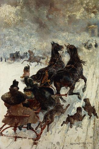 The Sled Race-Edmond Morin-Stretched Canvas Print