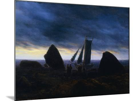 Fishing Boat Passing Figures on a beach by the Baltic-Caspar David Friedrich-Mounted Giclee Print