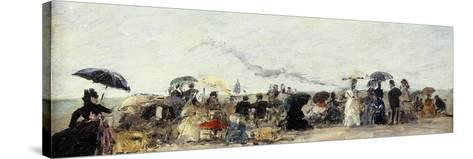 Trouville, Beach Scene-Eug?ne Boudin-Stretched Canvas Print