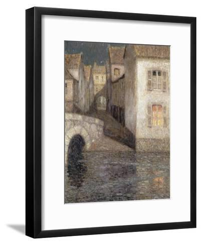 The House by the River, Chartres-Henri Eugene Augustin Le Sidaner-Framed Art Print