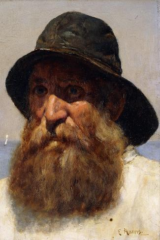 Portrait of a Fisherman-Edwin Harris-Stretched Canvas Print