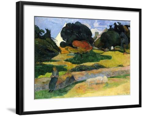 The Pig Field-Paul Gauguin-Framed Art Print