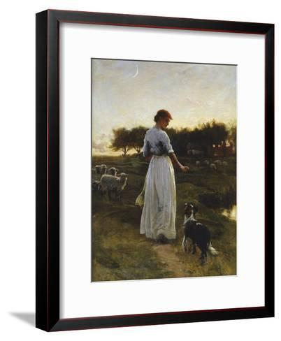 A Shepherdess with her Dog and Flock in a Moonlit Meadow-George Faulkener Wetherbee-Framed Art Print