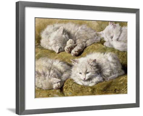 Studies of a Long-haired White Cat-Henriette Ronner-Knip-Framed Art Print
