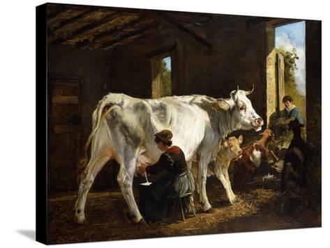 La Mungitura-Giuseppe Palizzi-Stretched Canvas Print
