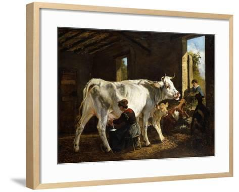 La Mungitura-Giuseppe Palizzi-Framed Art Print