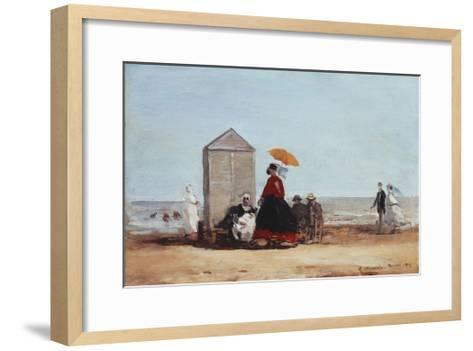 On the Beach at Trouville-Eug?ne Boudin-Framed Art Print