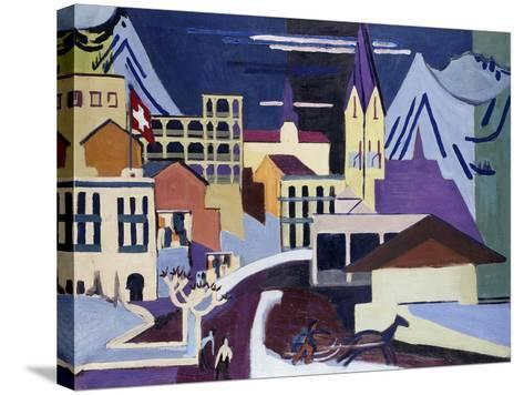 Davos-Platz Railway Station-Ernst Ludwig Kirchner-Stretched Canvas Print
