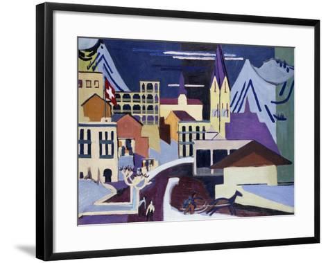 Davos-Platz Railway Station-Ernst Ludwig Kirchner-Framed Art Print