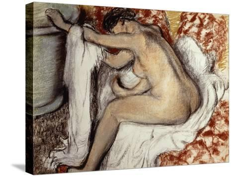 After the Bath, Woman Drying-Edgar Degas-Stretched Canvas Print
