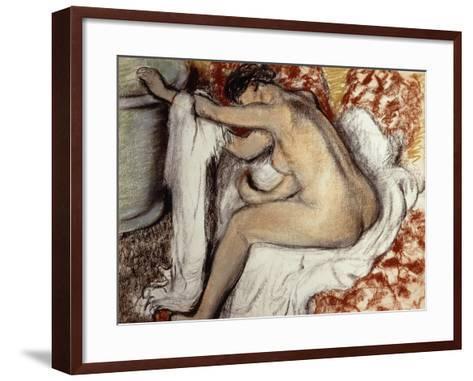 After the Bath, Woman Drying-Edgar Degas-Framed Art Print