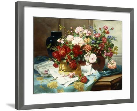 Still Life with Flowers and Sheet Music-Jules Etienne Carot-Framed Art Print