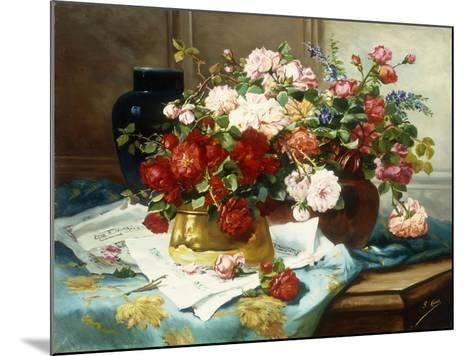 Still Life with Flowers and Sheet Music-Jules Etienne Carot-Mounted Giclee Print