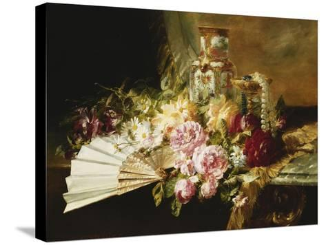 A Fan with Roses, Daisies and a Famille Rose Vase on a Draped Table-Pierre Garnier-Stretched Canvas Print