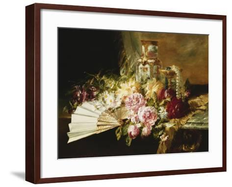 A Fan with Roses, Daisies and a Famille Rose Vase on a Draped Table-Pierre Garnier-Framed Art Print