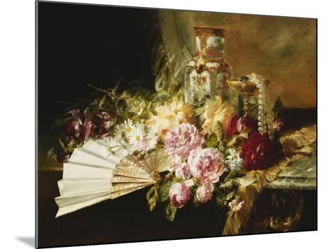 A Fan with Roses, Daisies and a Famille Rose Vase on a Draped Table-Pierre Garnier-Mounted Giclee Print