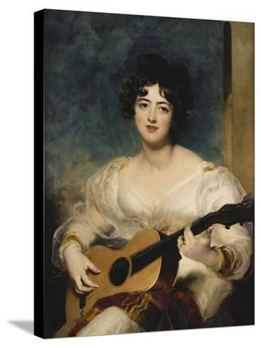 Portrait of Lady Wallscourt, a Striped Scarf Across Her Knees, Playing a Guitar-Sir Thomas Lawrence-Stretched Canvas Print