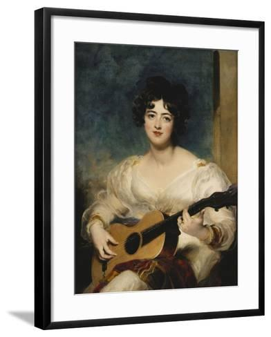 Portrait of Lady Wallscourt, a Striped Scarf Across Her Knees, Playing a Guitar-Sir Thomas Lawrence-Framed Art Print