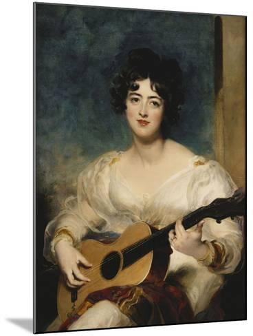 Portrait of Lady Wallscourt, a Striped Scarf Across Her Knees, Playing a Guitar-Sir Thomas Lawrence-Mounted Giclee Print