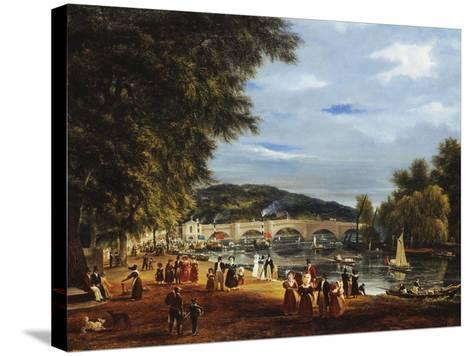 A View of Richmond Bridge with Boats on the River and Figures Promenading-J^ M^ W^ Turner-Stretched Canvas Print