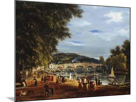 A View of Richmond Bridge with Boats on the River and Figures Promenading-J^ M^ W^ Turner-Mounted Giclee Print