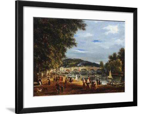 A View of Richmond Bridge with Boats on the River and Figures Promenading-J^ M^ W^ Turner-Framed Art Print