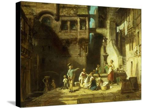 Laundry Women at the Well-Carl Spitzweg-Stretched Canvas Print