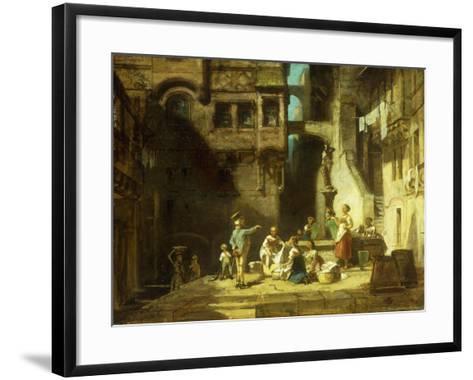 Laundry Women at the Well-Carl Spitzweg-Framed Art Print