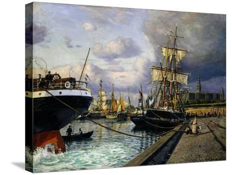 Shipping Vessels in Helsingor Harbour-Thorolf Frederik Pedersen-Stretched Canvas Print