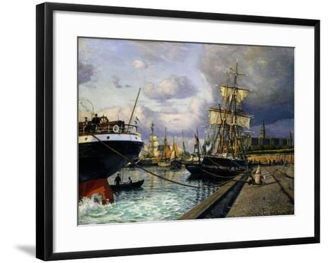 Shipping Vessels in Helsingor Harbour-Thorolf Frederik Pedersen-Framed Art Print