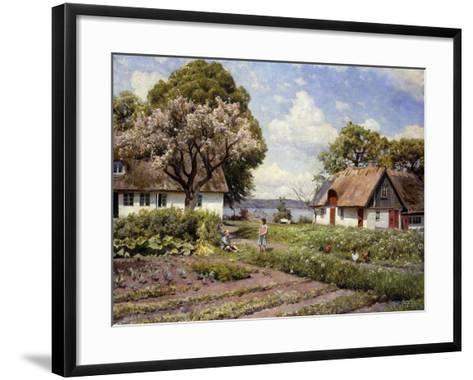 Children in a Farmyard-Peder Mork Monsted-Framed Art Print
